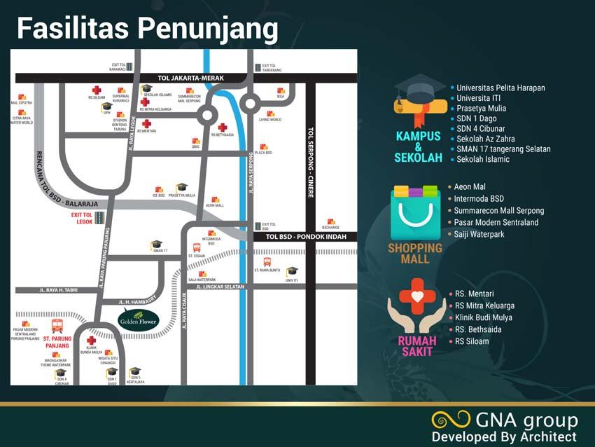 peta lokasi dan fasilitas p[enunjang